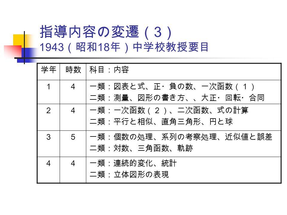 指導内容の変遷( 3 ) 1943 (昭和 18 年)中学校教授要目 学年時数科目:内容 14 一類:図表と式、正・負の数、一次函数(1) 二類:測量、図形の書き方、、大正・回転・合同 24 一類:一次函数(2)、二次函数、式の計算 二類:平行と相似、直角三角形、円と球 35 一類:個数の処理、系列の考察処理、近似値と誤差 二類:対数、三角函数、軌跡 44 一類:連続的変化、統計 二類:立体図形の表現