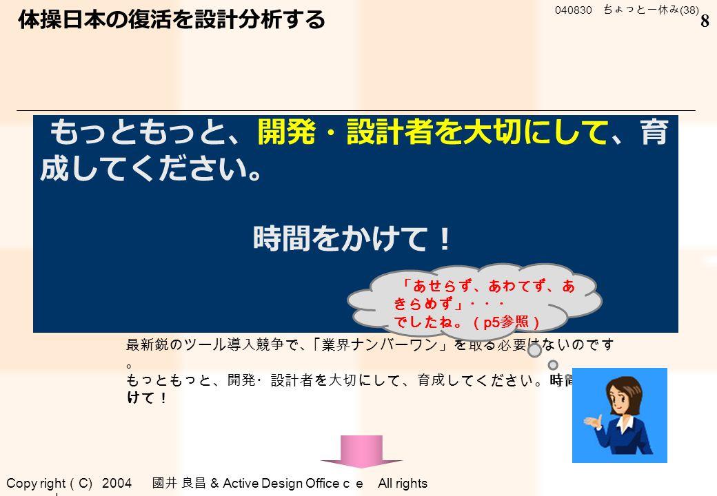 Copy right ( C) 2004 國井 良昌 & Active Design Office ce All rights reserved . 040830 ちょっと一休み (38) 8 ■ 総括 開発・設計の効率化を狙って、それを設計ハード、ソフトなどのツール にたよろうとする動きがあります。 是非、やめたほうが無難です。設計力がないのに無駄です。 それはまるで・・・・ です。 ← 真珠 ○丼→○丼→ 開発・設計の効率化を狙って、それを設計ハード、ソフトなどのツール にたよろうとする動きがあります。 是非、やめたほうが無難です。設計力がないのに無駄です。 設計の基本に戻りましょう! 最新鋭のツール導入は、それからでも間に合います。 最新鋭のツール導入競争で、「業界ナンバーワン」を取る必要はないのです 。 もっともっと、開発・設計者を大切にして、育成してください。時間をか けて! 体操日本の復活を設計分析する もっともっと、開発・設計者を大切にして、育 成してください。 時間をかけて! 「あせらず、あわてず、あ きらめず」・・・ でしたね。( p5 参照)
