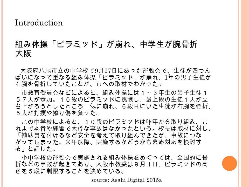 Introduction 組み体操「ピラミッド」が崩れ、中学生が腕骨折 大阪 大阪府八尾市立の中学校で 9 月 27 日にあった運動会で、生徒が四つん ばいになって重なる組み体操「ピラミッド」が崩れ、 1 年の男子生徒が 右腕を骨折していたことが、市への取材でわかった。 市教育委員会などによると、組み体操には1~3年生の男子生徒1 57人が参加。10段のピラミッドに挑戦し、最上段の生徒1人が立 ち上がろうとしたところ一気に崩れ、6段目にいた生徒が右腕を骨折、 5人が打撲や擦り傷を負った。 この中学校によると、10段のピラミッドは昨年から取り組み、こ れまで本番や練習で大きな事故はなかったという。校長は取材に対し、 「補助員を付けるなど安全を考えて取り組んできたが、事故につな がってしまった。来年以降、実施するかどうかも含め対応を検討す る」と話した。 小中学校の運動会で実施される組み体操をめぐっては、全国的に骨 折などの事故が起きており、大阪市教委は9月1日、ピラミッドの高 さを5段に制限することを決めている。 source: Asahi Digital 2015a