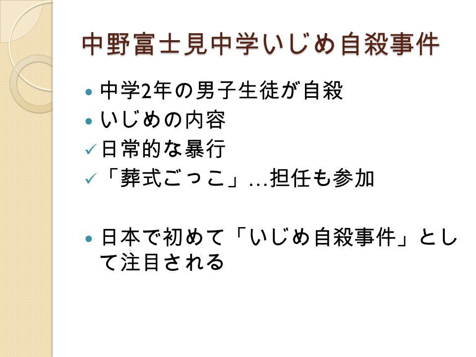 中野富士見中学いじめ自殺事件 中学 2 年の男子生徒が自殺 いじめの内容 日常的な暴行 「葬式ごっこ」 … 担任も参加 日本で初めて「いじめ自殺事件」とし て注目される