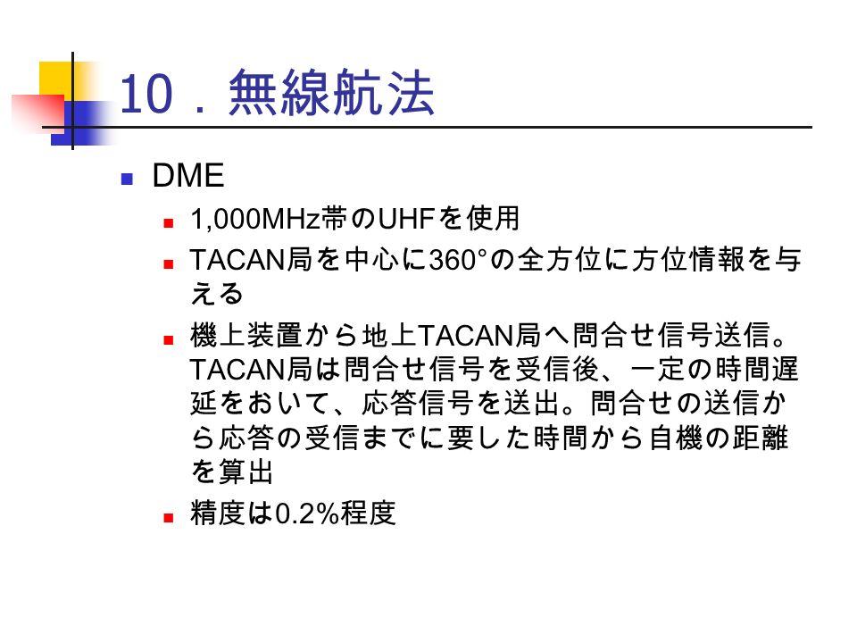 10 .無線航法 DME 1,000MHz 帯の UHF を使用 TACAN 局を中心に 360° の全方位に方位情報を与 える 機上装置から地上 TACAN 局へ問合せ信号送信。 TACAN 局は問合せ信号を受信後、一定の時間遅 延をおいて、応答信号を送出。問合せの送信か ら応答の受信までに要した時間から自機の距離 を算出 精度は 0.2% 程度