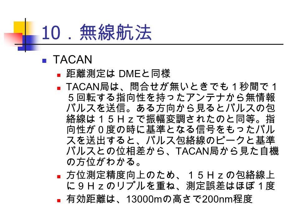 10 .無線航法 TACAN 距離測定は DME と同様 TACAN 局は、問合せが無いときでも1秒間で1 5回転する指向性を持ったアンテナから無情報 パルスを送信。ある方向から見るとパルスの包 絡線は15Hzで振幅変調されたのと同等。指 向性が0度の時に基準となる信号をもったパル スを送出すると、パルス包絡線のピークと基準 パルスとの位相差から、 TACAN 局から見た自機 の方位がわかる。 方位測定精度向上のため、15Hzの包絡線上 に9Hzのリプルを重ね、測定誤差はほぼ1度 有効距離は、 13000m の高さで 200nm 程度