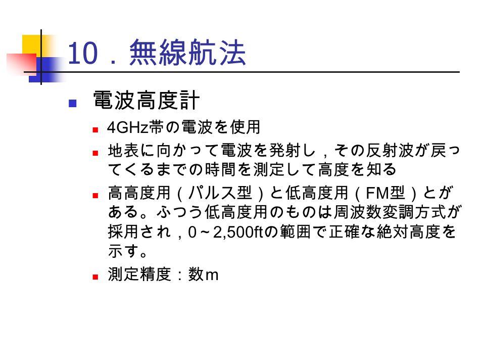 10 .無線航法 電波高度計 4GHz 帯の電波を使用 地表に向かって電波を発射し,その反射波が戻っ てくるまでの時間を測定して高度を知る 高高度用(パルス型)と低高度用( FM 型)とが ある。ふつう低高度用のものは周波数変調方式が 採用され, 0 ~ 2,500ft の範囲で正確な絶対高度を 示す。 測定精度:数m