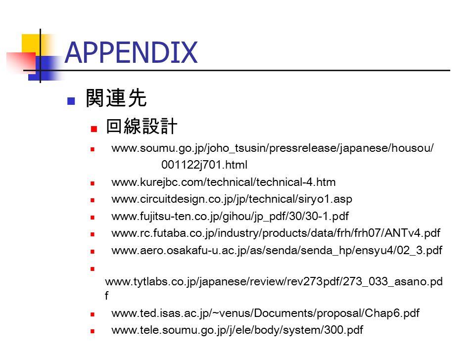 APPENDIX 関連先 回線設計 www.soumu.go.jp/joho_tsusin/pressrelease/japanese/housou/ 001122j701.html www.kurejbc.com/technical/technical-4.htm www.circuitdesign.co.jp/jp/technical/siryo1.asp www.fujitsu-ten.co.jp/gihou/jp_pdf/30/30-1.pdf www.rc.futaba.co.jp/industry/products/data/frh/frh07/ANTv4.pdf www.aero.osakafu-u.ac.jp/as/senda/senda_hp/ensyu4/02_3.pdf www.tytlabs.co.jp/japanese/review/rev273pdf/273_033_asano.pd f www.ted.isas.ac.jp/~venus/Documents/proposal/Chap6.pdf www.tele.soumu.go.jp/j/ele/body/system/300.pdf