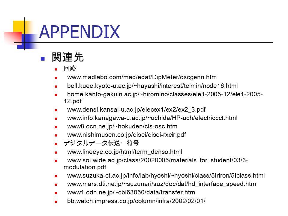 APPENDIX 関連先 回路 www.madlabo.com/mad/edat/DipMeter/oscgenri.htm bell.kuee.kyoto-u.ac.jp/~hayashi/interest/telmin/node16.html home.kanto-gakuin.ac.jp/~hiromino/classes/ele1-2005-12/ele1-2005- 12.pdf www.densi.kansai-u.ac.jp/elecex1/ex2/ex2_3.pdf www.info.kanagawa-u.ac.jp/~uchida/HP-uch/electriccct.html www8.ocn.ne.jp/~hokuden/cls-osc.htm www.nishimusen.co.jp/eisei/eisei-rxcir.pdf デジタルデータ伝送・符号 www.lineeye.co.jp/html/term_denso.html www.soi.wide.ad.jp/class/20020005/materials_for_student/03/3- modulation.pdf www.suzuka-ct.ac.jp/info/lab/hyoshi/~hyoshi/class/5Iriron/5Iclass.html www.mars.dti.ne.jp/~suzunari/suz/doc/dat/hd_interface_speed.htm www1.odn.ne.jp/~cbi63050/data/transfer.htm bb.watch.impress.co.jp/column/infra/2002/02/01/