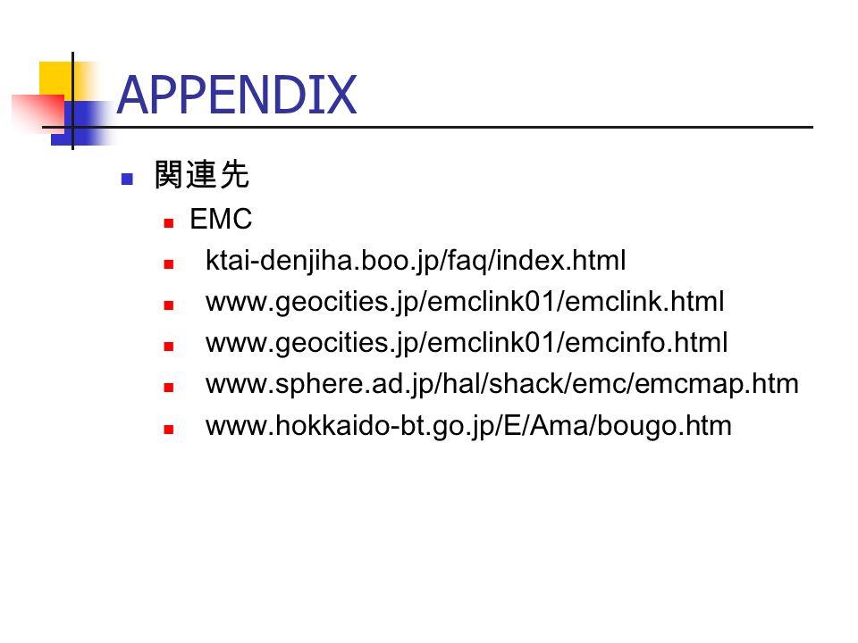 APPENDIX 関連先 EMC ktai-denjiha.boo.jp/faq/index.html www.geocities.jp/emclink01/emclink.html www.geocities.jp/emclink01/emcinfo.html www.sphere.ad.jp/hal/shack/emc/emcmap.htm www.hokkaido-bt.go.jp/E/Ama/bougo.htm