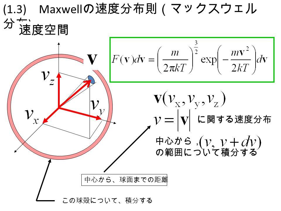 JVS-1-3-1 (1.3) Maxwell の速度分布則(マックスウェル 分布 ) 速度空間 中心から, の範囲について積分する に関する速度分布 中心から、球面までの距離 この球殻について、積分する