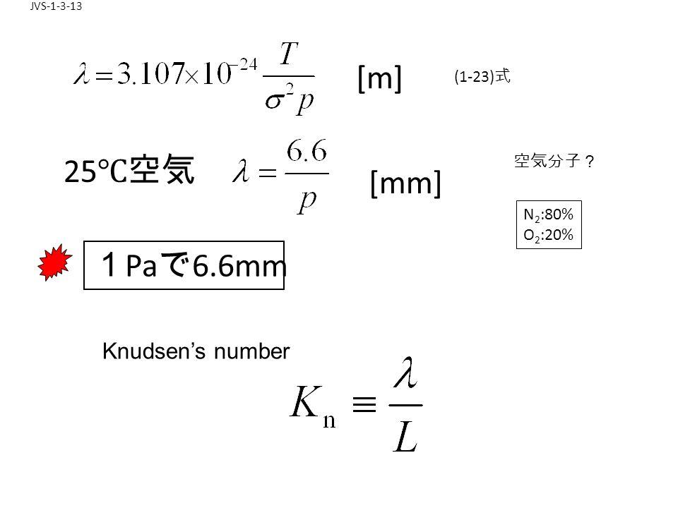 JVS-1-3-13 [m] 25 ℃空気 [mm] 1 Pa で 6.6mm (1-23) 式 空気分子? N 2 :80% O 2 :20% Knudsen's number