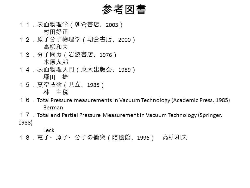 参考図書 11.表面物理学(朝倉書店、 2003 ) 村田好正 12.原子分子物理学(朝倉書店、 2000 ) 高柳和夫 13.分子間力(岩波書店、 1976 ) 木原太郎 14.表面物理入門(東大出版会、 1989 ) 塚田 捷 15.真空技術(共立、 1985 ) 林 主税 16. Total Pressure measurements in Vacuum Technology (Academic Press, 1985) Berman 17. Total and Partial Pressure Measurement in Vacuum Technology (Springer, 1988) Leck 18.電子・原子・分子の衝突(陪風館、 1996 ) 高柳和夫