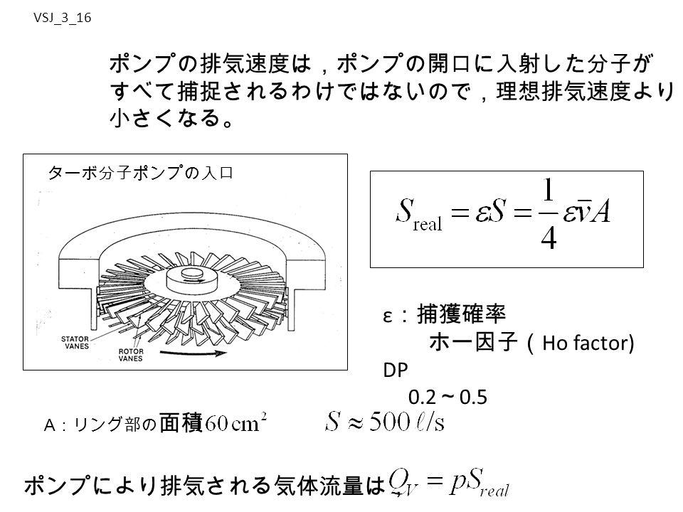 VSJ_3_16 ポンプの排気速度は,ポンプの開口に入射した分子が すべて捕捉されるわけではないので,理想排気速度より 小さくなる。 ε :捕獲確率 ホー因子( Ho factor) DP 0.2 ~ 0.5 ポンプにより排気される気体流量は, ターボ分子ポンプの入口 A :リング部の 面積