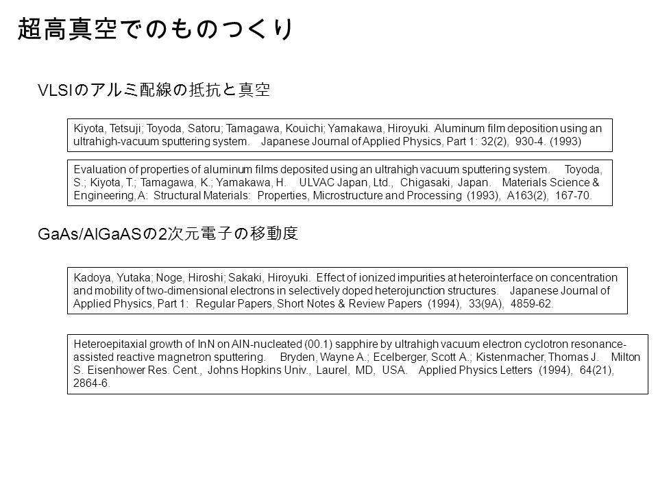 超高真空でのものつくり Kiyota, Tetsuji; Toyoda, Satoru; Tamagawa, Kouichi; Yamakawa, Hiroyuki.