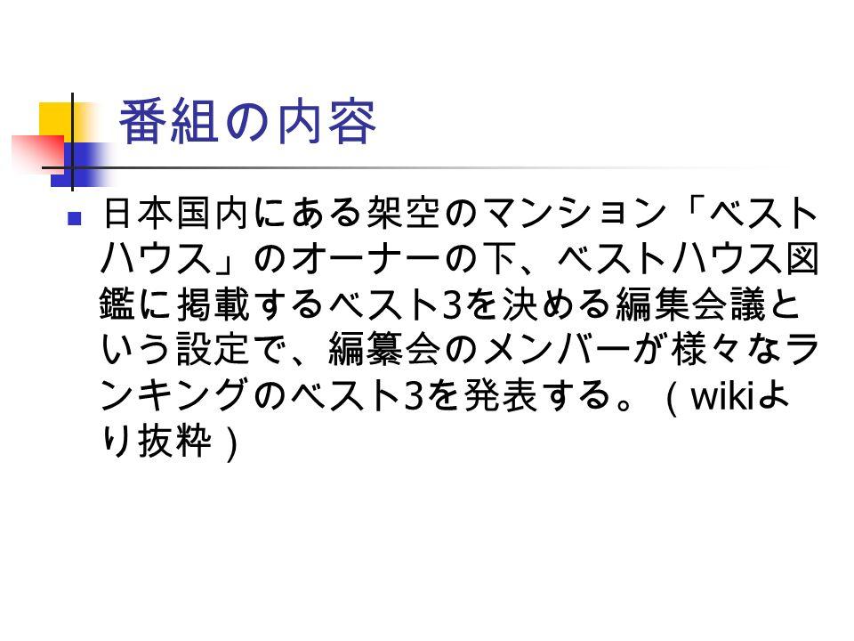 番組の内容 日本国内にある架空のマンション「ベスト ハウス」のオーナーの下、ベストハウス図 鑑に掲載するベスト 3 を決める編集会議と いう設定で、編纂会のメンバーが様々なラ ンキングのベスト 3 を発表する。( wiki よ り抜粋)