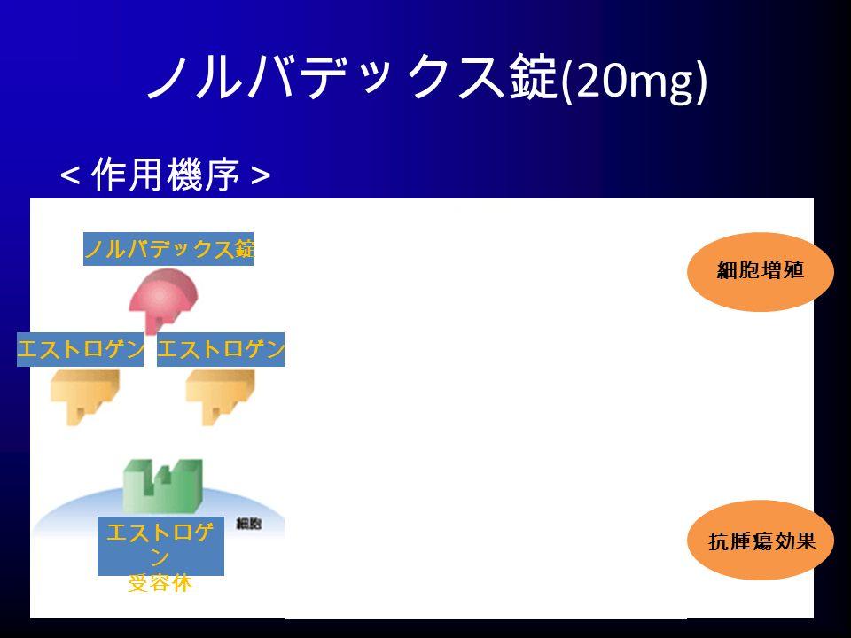 ノルバデックス錠 (20mg) <作用機序> ノルバデックス錠 エストロゲン 受容体 抗腫瘍効果 細胞増殖