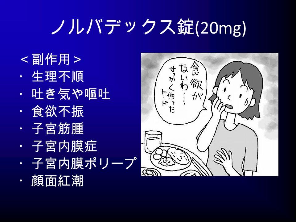 ノルバデックス錠 (20mg) <副作用> ・生理不順 ・吐き気や嘔吐 ・食欲不振 ・子宮筋腫 ・子宮内膜症 ・子宮内膜ポリープ ・顔面紅潮