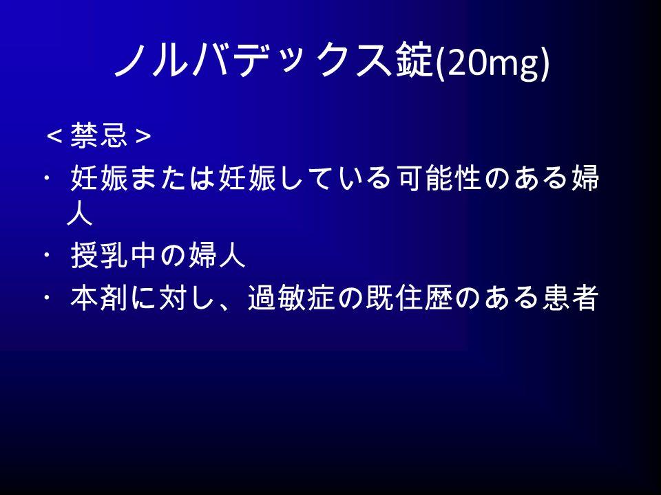 ノルバデックス錠 (20mg) <禁忌> ・妊娠または妊娠している可能性のある婦 人 ・授乳中の婦人 ・本剤に対し、過敏症の既住歴のある患者