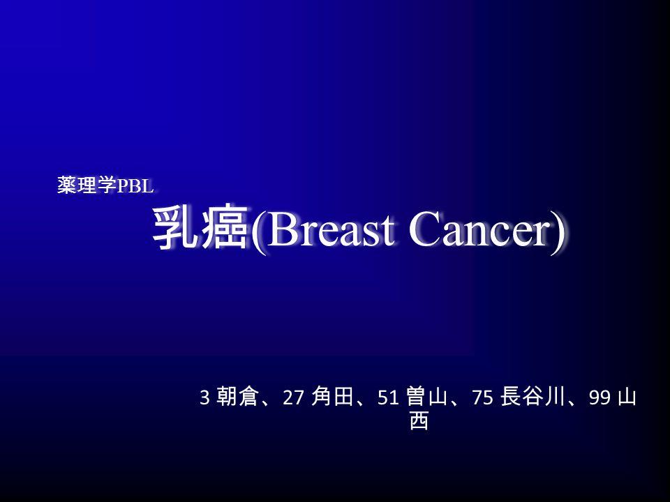薬理学 PBL 乳癌 (Breast Cancer) 3 朝倉、 27 角田、 51 曽山、 75 長谷川、 99 山 西