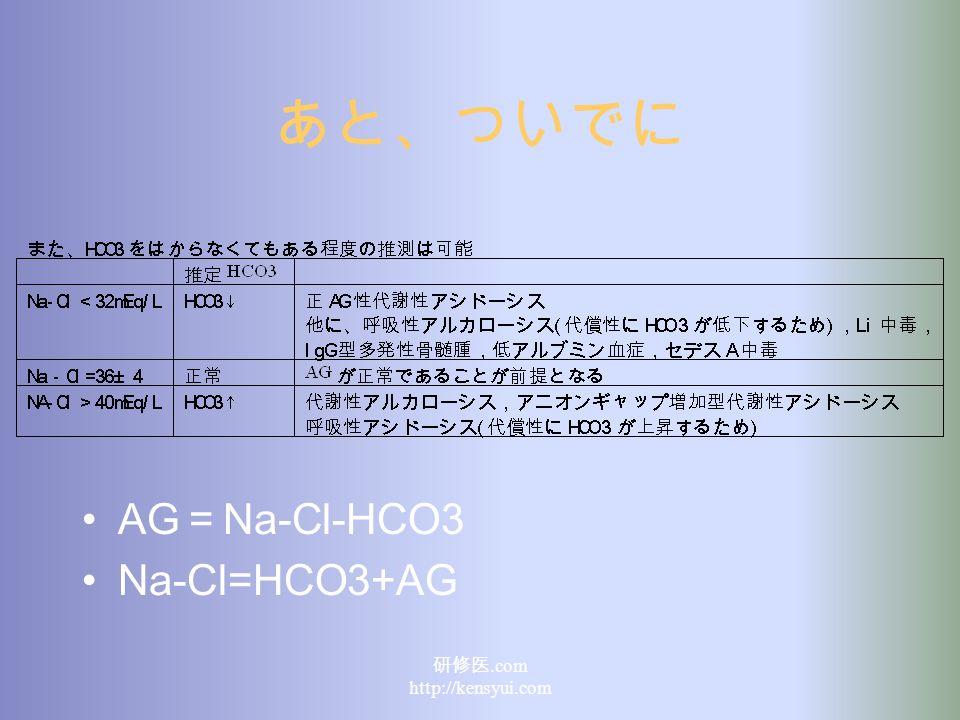 あと、ついでに AG = Na-Cl-HCO3 Na-Cl=HCO3+AG 研修医.com http://kensyui.com
