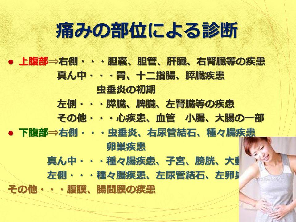 痛みの部位による診断 上腹部⇒右側・・・胆嚢、胆管、肝臓、右腎臓等の疾患 上腹部⇒右側・・・胆嚢、胆管、肝臓、右腎臓等の疾患 真ん中・・・胃、十二指腸、膵臓疾患 虫垂炎の初期 左側・・・膵臓、脾臓、左腎臓等の疾患 その他・・・心疾患、血管 小腸、大腸の一部 下腹部⇒右側・・・虫垂炎、右尿管結石、種々腸疾患 下腹部⇒右側・・・虫垂炎、右尿管結石、種々腸疾患 卵巣疾患 真ん中・・・種々腸疾患、子宮、膀胱、大動脈 左側・・・種々腸疾患、左尿管結石、左卵巣その他・・・腹膜、腸間膜の疾患