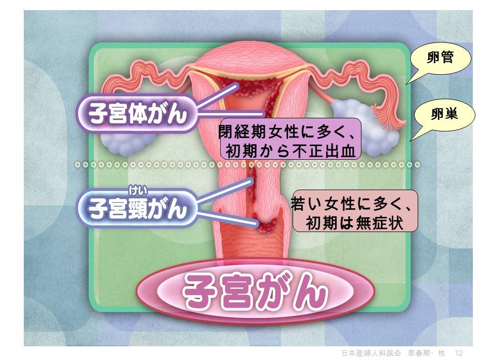 日本産婦人科医会 思春期・性 12 若い女性に多く、 初期は無症状 閉経期女性に多く、 初期から不正出血 卵巣 卵管
