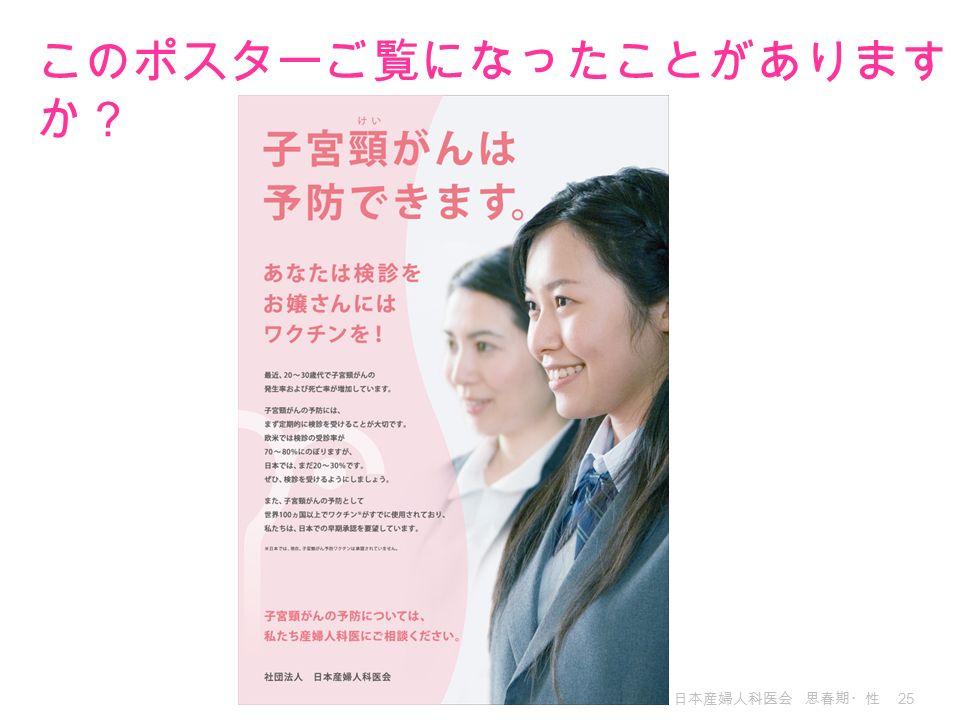 日本産婦人科医会 思春期・性 25 このポスターご覧になったことがあります か?