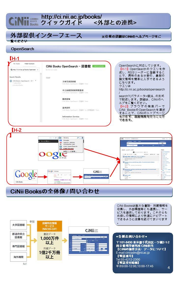 外部提供インターフェース ※仕様の詳細は CiNii のヘルプページをご 覧ください CiNii Books の全体像 / 問い合わせ CiNii Books は膨大な書誌・所蔵情報を 収集し、外部機関等とも連携し、サー ビスを提供しております。これからも お探しの情報により快適にナビゲート できるように改善を続けてまいります 。 ◆各種お問い合わせ◆ 〒 101-8430 東京都千代田区一ツ橋 2-1-2 国立情報学研究所 CiNii 担当 【 CiNii の操作方法・データについて】 E-mail:ciniiadm@nii.ac.jp 【電話番号】 Tel:03-4212-2300 【電話受付時間】 平日 9:00-12:00,13:00-17:45 4 OpenSearch 【 H-1 】 OpenSearch に対応しています。 【 H-1 】 OpenSearch のクエリを作 成し、 RSS リーダーに登録するこ とで、興味のある分野の、最新の 論文情報を簡単に入手できるよう になります。 クエリは http://ci.nii.ac.jp/books/opensearch / search ( パラメータ = 値 )&...