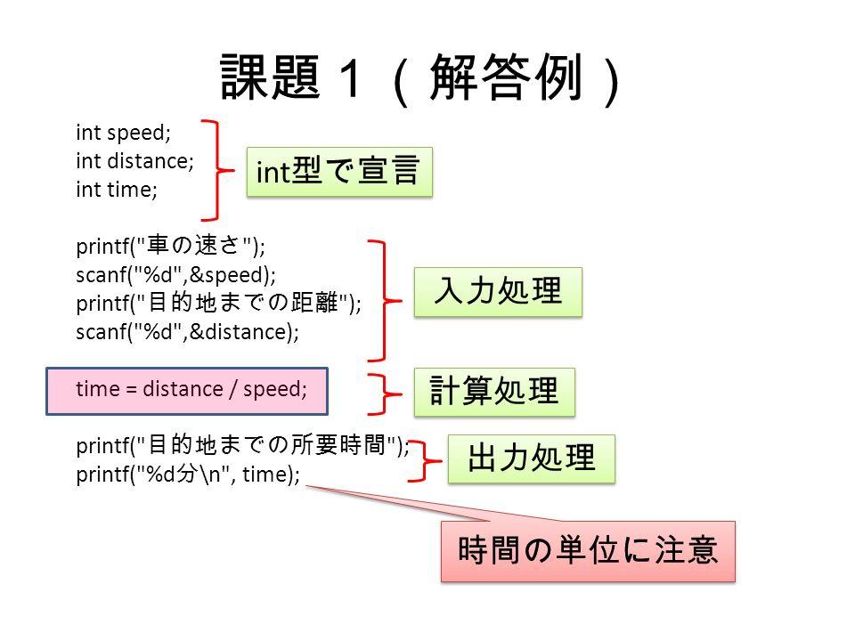 課題1(解答例) int speed; int distance; int time; printf( 車の速さ ); scanf( %d ,&speed); printf( 目的地までの距離 ); scanf( %d ,&distance); time = distance / speed; printf( 目的地までの所要時間 ); printf( %d 分 \n , time); int 型で宣言 時間の単位に注意 入力処理 計算処理 出力処理