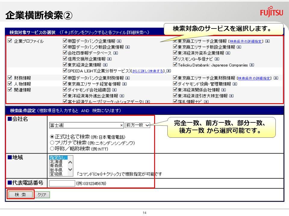Copyright©2010 G-Search Ltd. 14 企業横断検索② 検索対象のサービスを選択します。 完全一致、前方一致、部分一致、 後方一致 から選択可能です。