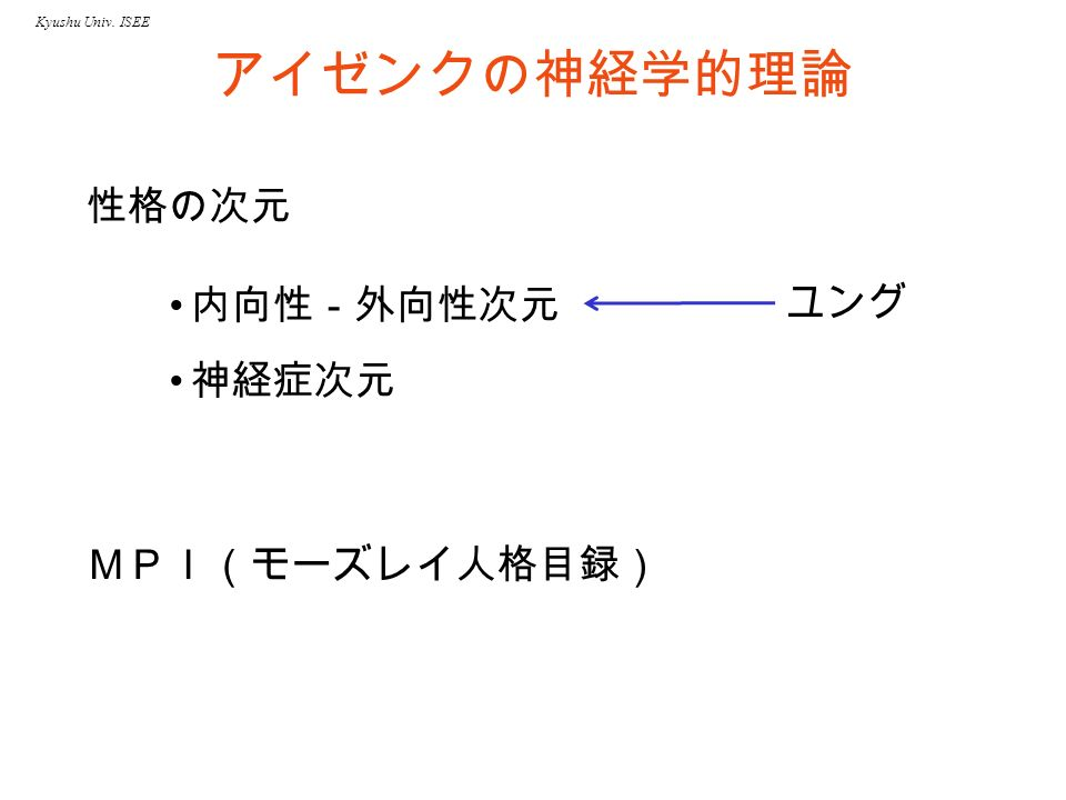 Kyushu Univ. ISEE アイゼンクの神経学的理論 MPI(モーズレイ人格目録) 内向性-外向性次元 神経症次元 性格の次元 ユング