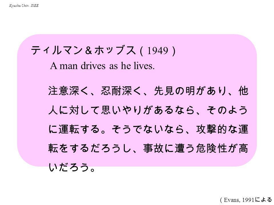 Kyushu Univ. ISEE ティルマン&ホッブス( 1949 ) A man drives as he lives.