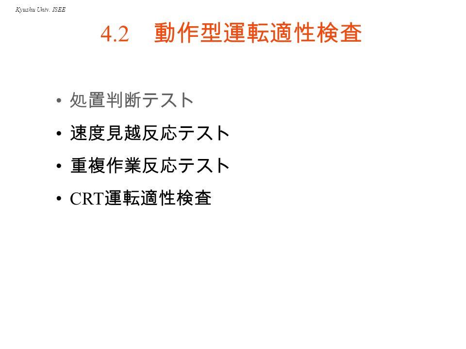 Kyushu Univ. ISEE 4.2 動作型運転適性検査 処置判断テスト 速度見越反応テスト 重複作業反応テスト CRT 運転適性検査