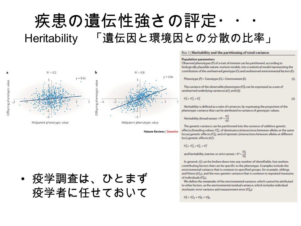 疾患の遺伝性強さの評定・・・ Heritability 「遺伝因と環境因との分散の比率」 疫学調査は、ひとまず 疫学者に任せておいて