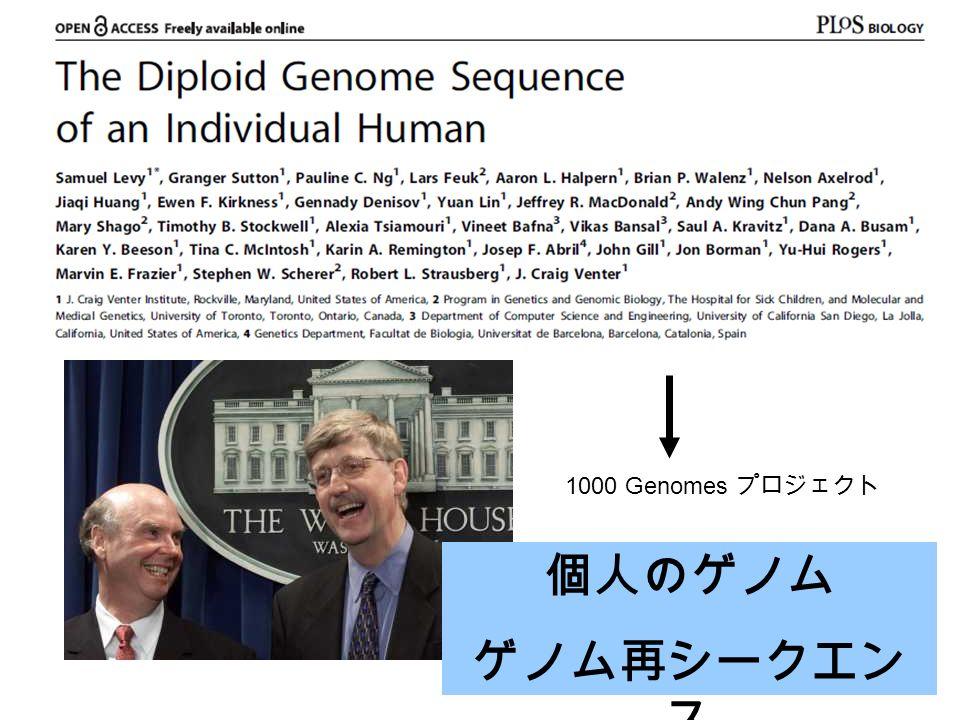 個人のゲノム ゲノム再シークエン ス 1000 Genomes プロジェクト