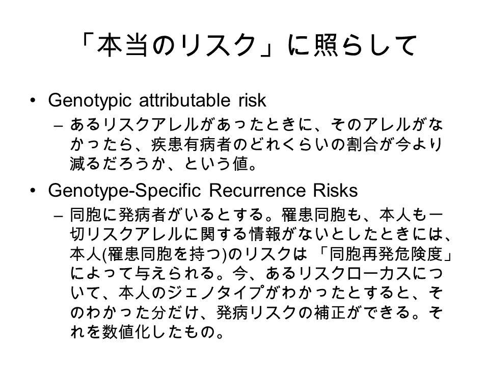 「本当のリスク」に照らして Genotypic attributable risk – あるリスクアレルがあったときに、そのアレルがな かったら、疾患有病者のどれくらいの割合が今より 減るだろうか、という値。 Genotype-Specific Recurrence Risks – 同胞に発病者がいるとする。罹患同胞も、本人も一 切リスクアレルに関する情報がないとしたときには、 本人 ( 罹患同胞を持つ ) のリスクは 「同胞再発危険度」 によって与えられる。今、あるリスクローカスにつ いて、本人のジェノタイプがわかったとすると、そ のわかった分だけ、発病リスクの補正ができる。そ れを数値化したもの。