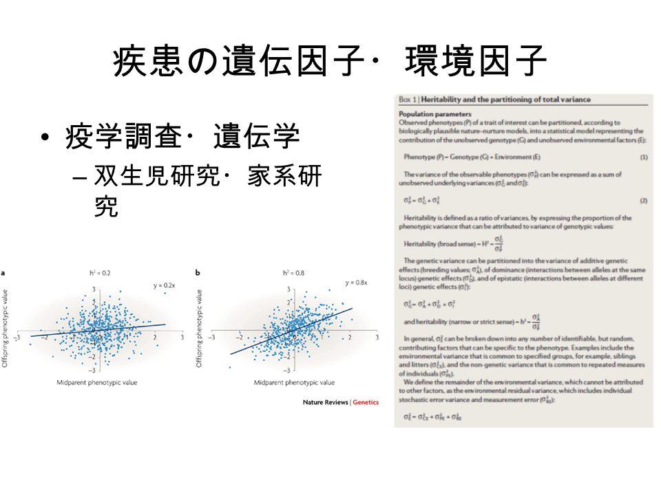 疾患の遺伝因子・環境因子 疫学調査・遺伝学 – 双生児研究・家系研 究