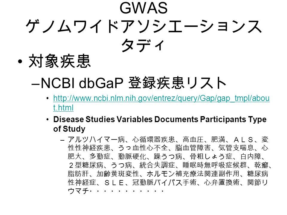 GWAS ゲノムワイドアソシエーションス タディ 対象疾患 –NCBI dbGaP 登録疾患リスト http://www.ncbi.nlm.nih.gov/entrez/query/Gap/gap_tmpl/abou t.htmlhttp://www.ncbi.nlm.nih.gov/entrez/query/Gap/gap_tmpl/abou t.html Disease Studies Variables Documents Participants Type of Study – アルツハイマー病、心循環器疾患、高血圧、肥満、ALS、変 性性神経疾患、うっ血性心不全、脳血管障害、気管支喘息、心 肥大、多動症、動脈硬化、躁うつ病、骨粗しょう症、白内障、 2型糖尿病、うつ病、統合失調症、睡眠時無呼吸症候群、乾癬、 脂肪肝、加齢黄斑変性、ホルモン補充療法関連副作用、糖尿病 性神経症、SLE、冠動脈バイパス手術、心弁置換術、関節リ ウマチ・・・・・・・・・・・