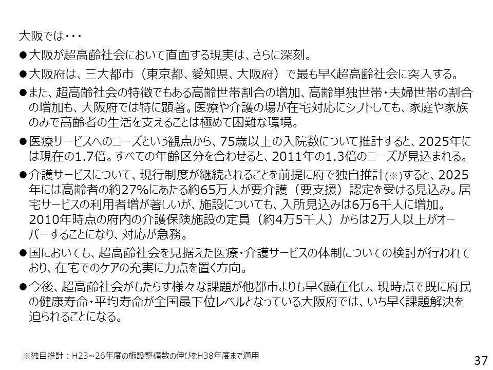 大阪では・・・ 大阪が超高齢社会において直面する現実は、さらに深刻。 大阪府は、三大都市(東京都、愛知県、大阪府)で最も早く超高齢社会に突入する。 また、超高齢社会の特徴でもある高齢世帯割合の増加、高齢単独世帯・夫婦世帯の割合 の増加も、大阪府では特に顕著。医療や介護の場が在宅対応にシフトしても、家庭や家族 のみで高齢者の生活を支えることは極めて困難な環境。 医療サービスへのニーズという観点から、75歳以上の入院数について推計すると、2025年に は現在の1.7倍。すべての年齢区分を合わせると、2011年の1.3倍のニーズが見込まれる。 介護サービスについて、現行制度が継続されることを前提に府で独自推計 (※) すると、2025 年には高齢者の約27%にあたる約65万人が要介護(要支援)認定を受ける見込み。居 宅サービスの利用者増が著しいが、施設についても、入所見込みは6万6千人に増加。 2010年時点の府内の介護保険施設の定員(約4万5千人)からは2万人以上がオー バーすることになり、対応が急務。 国においても、超高齢社会を見据えた医療・介護サービスの体制についての検討が行われて おり、在宅でのケアの充実に力点を置く方向。 今後、超高齢社会がもたらす様々な課題が他都市よりも早く顕在化し、現時点で既に府民 の健康寿命・平均寿命が全国最下位レベルとなっている大阪府では、いち早く課題解決を 迫られることになる。 37 ※独自推計:H23~26年度の施設整備数の伸びをH38年度まで適用