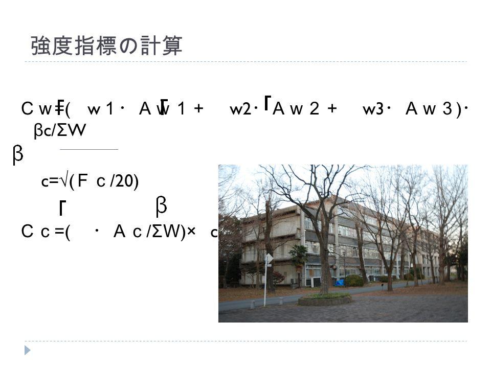 強度指標の計算 Cw =( w 1・Aw1+ w2 ・Aw2+ w3 ・Aw3 ) ・ β c/ Σ W c=√( Fc /20) Cc =( ・Ac / Σ W )× c