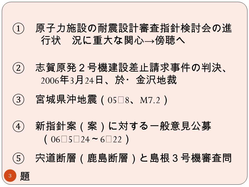 3 ① 原子力施設の耐震設計審査指針検討会の進 行状 況に重大な関心 → 傍聴へ ② 志賀原発2号機建設差止請求事件の判決、 2006 年 3 月 24 日、於・金沢地裁 ③ 宮城県沖地震( 05 ・ 8 、 M7.2 ) ④ 新指針案(案)に対する一般意見公募 ( 06 ・ 5 ・ 24 ~ 6 ・ 22 ) ⑤ 宍道断層(鹿島断層)と島根3号機審査問 題