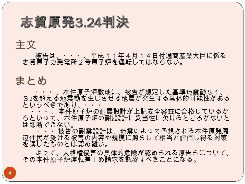 志賀原発 3.24 判決 4 主文 被告は、・・・、平成11年4月14日付通商産業大臣に係る 志賀原子力発電所2号原子炉を運転してはならない。 まとめ ・・・、本件原子炉敷地に、被告が想定した基準地震動S1、 S 2 を超える地震動を生じさせる地震が発生する具体的可能性がある というべきであり、・・・ ・・・、本件原子炉の耐震設計が上記安全審査に合格しているか らといって、本件原子炉の耐 k 設計に妥当性に欠けるところがないと は即断できない。 ・・・被告の耐震設計は、地震によって予想される本件原発周 辺住民が受ける被害の内容や規模に照らして相当と評価し得る対策 を講じたものとは認め難い。 よって、人格権侵害の具体的危険が認められる原告らについて、 その本件原子炉運転差止め請求を認容すべきことになる。
