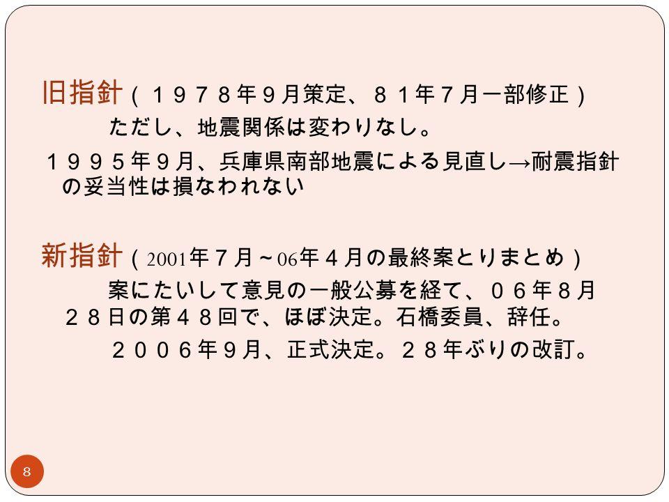 8 旧指針 (1978年9月策定、81年7月一部修正) ただし、地震関係は変わりなし。 1995年9月、兵庫県南部地震による見直し → 耐震指針 の妥当性は損なわれない 新指針 ( 2001 年7月~ 06 年4月の最終案とりまとめ) 案にたいして意見の一般公募を経て、06年8月 28日の第48回で、ほぼ決定。石橋委員、辞任。 2006年9月、正式決定。28年ぶりの改訂。