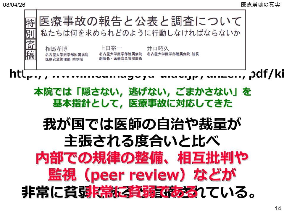 08/04/26 医療崩壊の真実 14 本院では「隠さない,逃げない,ごまかさない」を基本指針として,医療事故に対応してきた http://www.med.nagoya-u.ac.jp/anzen/pdf/kikou.pdf 内部での規律の整備、相互批判や 監視( peer review )などが 非常に貧弱である 我が国では医師の自治や裁量が 主張される度合いと比べ 内部での規律の整備、相互批判や 監視( peer review )などが 非常に貧弱であると指摘されている。 内部での規律の整備、相互批判や 監視( peer review )などが 非常に貧弱である 内部での規律の整備、相互批判や 監視( peer review )などが 非常に貧弱である
