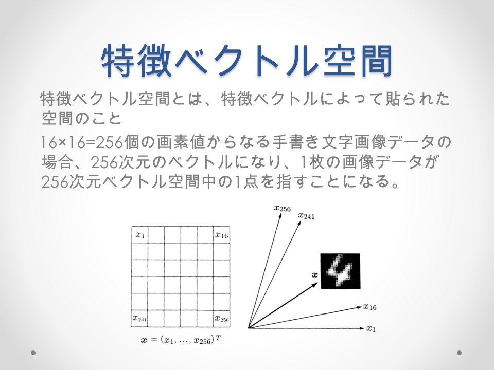 特徴ベクトル空間 特徴ベクトル空間とは、特徴ベクトルによって貼られた 空間のこと 16×16=256 個の画素値からなる手書き文字画像データの 場合、 256 次元のベクトルになり、 1 枚の画像データが 256 次元ベクトル空間中の 1 点を指すことになる。