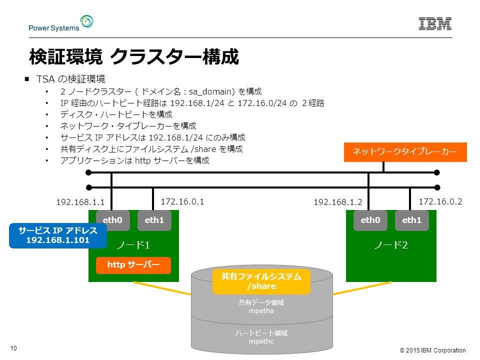 © 2015 IBM Corporation 10 検証環境 クラスター構成 ■TSA の検証環境 2 ノードクラスター ( ドメイン名:sa_domain) を構成 IP 経由のハートビート経路は 192.168.1/24 と 172.16.0/24 の 2経路 ディスク・ハートビートを構成 ネットワーク・タイブレーカーを構成 サービス IP アドレスは 192.168.1/24 にのみ構成 共有ディスク上にファイルシステム /share を構成 アプリケーションは http サーバーを構成 ノード1 eth0eth1 ハートビート領域 mpathc 共有データ領域 mpatha 共有ファイルシステム /share 192.168.1.1 172.16.0.1 http サーバー ノード2 eth0eth1 192.168.1.2 172.16.0.2 サービス IP アドレス 192.168.1.101 ネットワークタイブレーカー