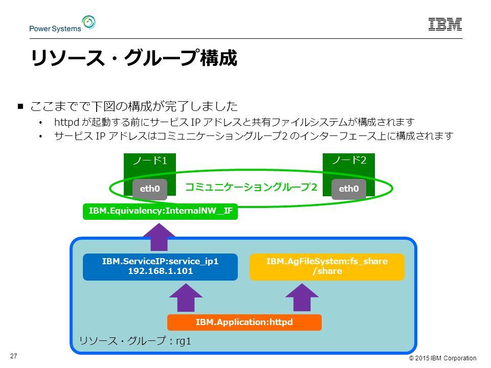 © 2015 IBM Corporation 27 リソース・グループ構成 ■ここまでで下図の構成が完了しました httpd が起動する前にサービス IP アドレスと共有ファイルシステムが構成されます サービス IP アドレスはコミュニケーショングループ2 のインターフェース上に構成されます リソース・グループ:rg1 IBM.AgFileSystem:fs_share /share IBM.ServiceIP:service_ip1 192.168.1.101 IBM.Application:httpd ノード1 ノード2 eth0 コミュニケーショングループ2 IBM.Equivalency:InternalNW_IF