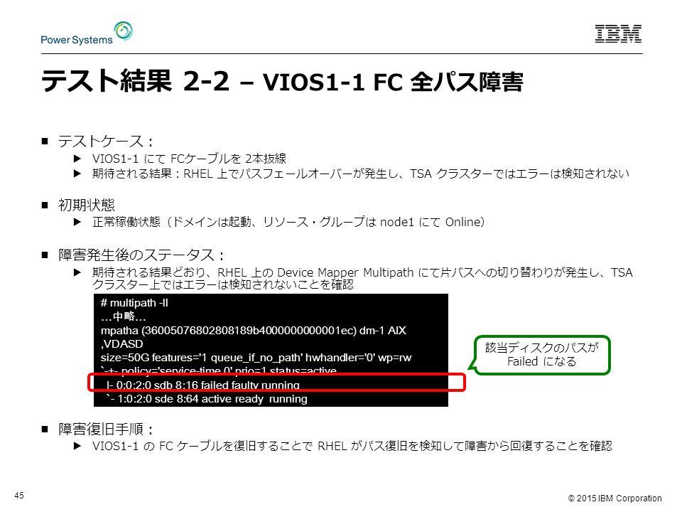 © 2015 IBM Corporation 45 テスト結果 2-2 – VIOS1-1 FC 全パス障害 ■テストケース: ▶VIOS1-1 にて FCケーブルを 2本抜線 ▶期待される結果:RHEL 上でパスフェールオーバーが発生し、TSA クラスターではエラーは検知されない ■初期状態 ▶正常稼働状態(ドメインは起動、リソース・グループは node1 にて Online) ■障害発生後のステータス: ▶期待される結果どおり、RHEL 上の Device Mapper Multipath にて片バスへの切り替わりが発生し、TSA クラスター上ではエラーは検知されないことを確認 ■障害復旧手順: ▶VIOS1-1 の FC ケーブルを復旧することで RHEL がパス復旧を検知して障害から回復することを確認 # multipath -ll … 中略 … mpatha (36005076802808189b4000000000001ec) dm-1 AIX,VDASD size=50G features= 1 queue_if_no_path hwhandler= 0 wp=rw `-+- policy= service-time 0 prio=1 status=active |- 0:0:2:0 sdb 8:16 failed faulty running `- 1:0:2:0 sde 8:64 active ready running 該当ディスクのパスが Failed になる