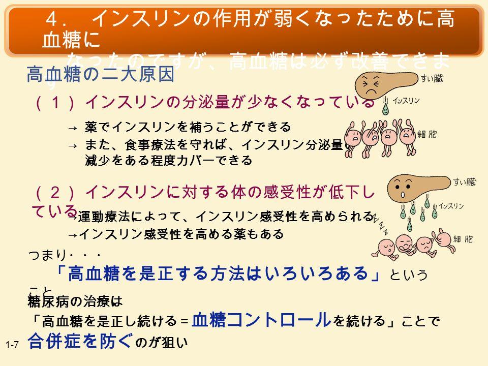 (1) インスリンの分泌量が少なくなっている 4.