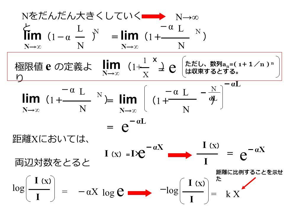 ( 1 - α ) LNLN N N をだんだん大きくしていく と N→∞ lim N→∞ = ( 1 + ) LNLN N lim N→∞ -α-α 極限値 e の定義よ り ( 1+ ) lim N→∞ 1X1X X = e= e ( 1 + ) LNLN N lim N→∞ -α-α = ( 1 + ) lim N→∞ LNLN -α-α αL N - - αL = e 距離 X においては、 I(X)=I×I(X)=I× e - αX I(X)I(X) I e = 両辺対数をとると log I(X)I(X) I = - αX log e I(X)I(X) I = k X - 距離に比例することを示せ た ただし、数列 a n =( 1 +1/ n ) n は収束するとする。