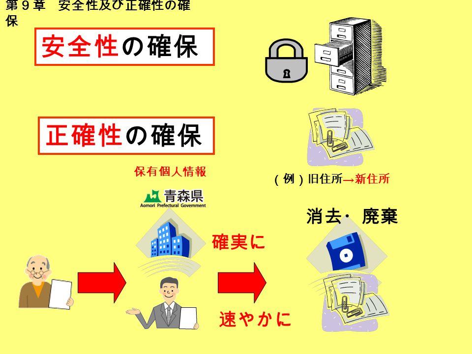 (例)旧住所 → 新住所 安全性の確保 正確性の確保 消去・廃棄 第9章 安全性及び正確性の確 保 確実に 速やかに 保有個人情報