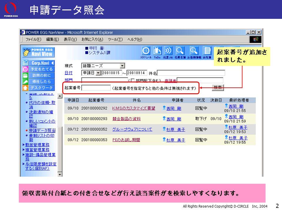 POWER EGG All Rights Reserved Copyright© D-CIRCLE Inc, 2004 2 起案番号が追加さ れました。 申請データ照会 領収書貼付台紙との付き合せなどが行え該当案件がを検索しやすくなります。