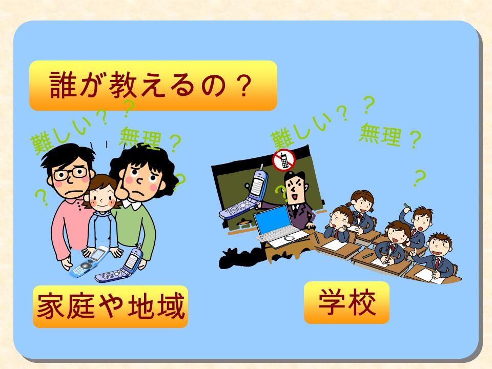 誰が教えるの? 家庭や地域 学校 ? 無理 ? 難しい? ? ? ? 無理 ? 難しい? ? ?